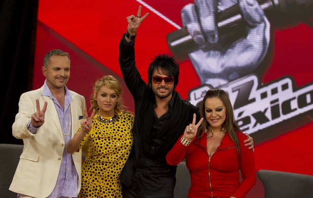 Jenni Rivera - photographed August 21, 2012 with 'La Voz' colleagues Miguel Bose, Paulina Rubio and Beto Cuevas