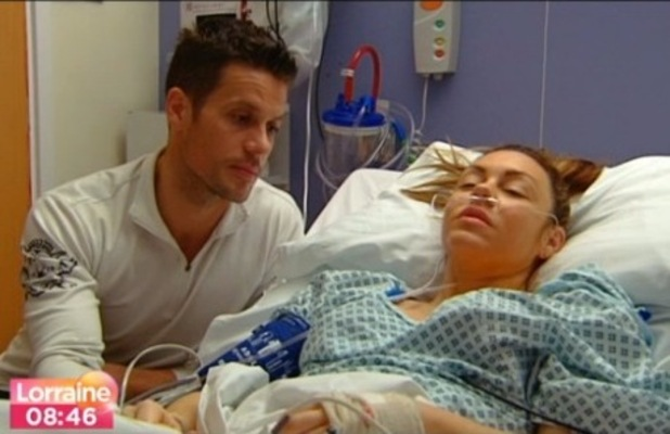Michelle Heaton in hospital with Hugh Hanley after double mastectomy