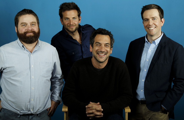 "From left, actors Zach Galifianakis, Bradley Cooper, director Todd Phillips, and Ed Helms, from the upcoming film ""The Hangover Part II"", pose for a portrait in Beverly Hills, Calif., Wednesday, May 18, 2011."