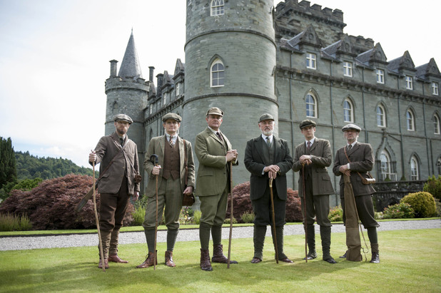 Downton Abbey - Christmas Special 2012:  CHARLES EDWARDS as Gregson, HUGH BONNEVILLE as Lord Grantham, PETER EGAN as Shrimpie, DAN STEVENS as Matthew Crawley and KENNETH BRYANS as Nield