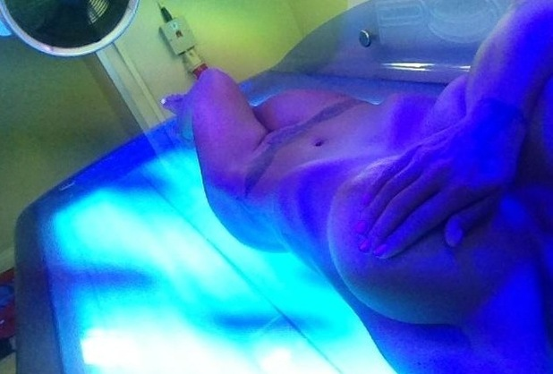 Jodie Marsh posts picture of herself on a sunbed.