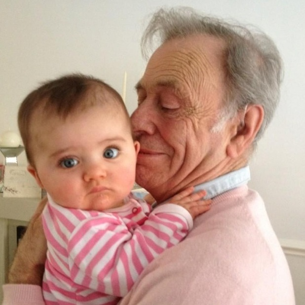 Alex Reid and Chantelle Houghton's daughter Dolly with Alex's father Bob, 12.12.12