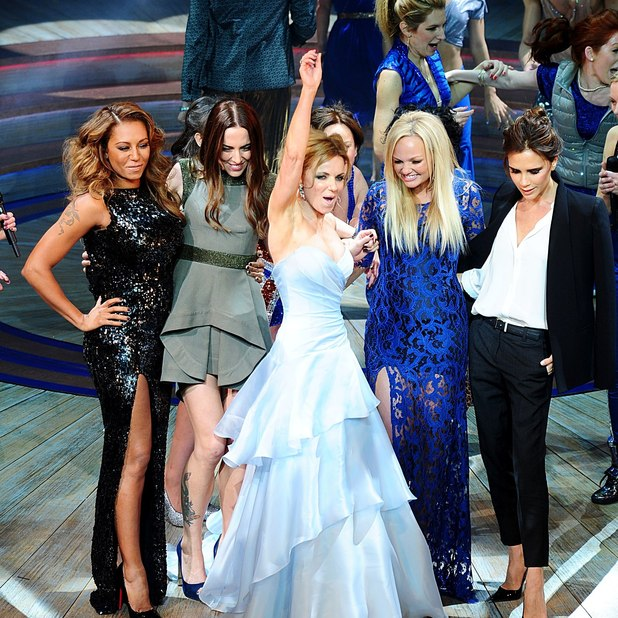 Melanie Brown, Melanie Chisholm, Geri Halliwell, Emma Bunton and Victoria Beckham with the cast during the press night of Viva Forever at the Piccadilly Theatre, Denman Street, London.