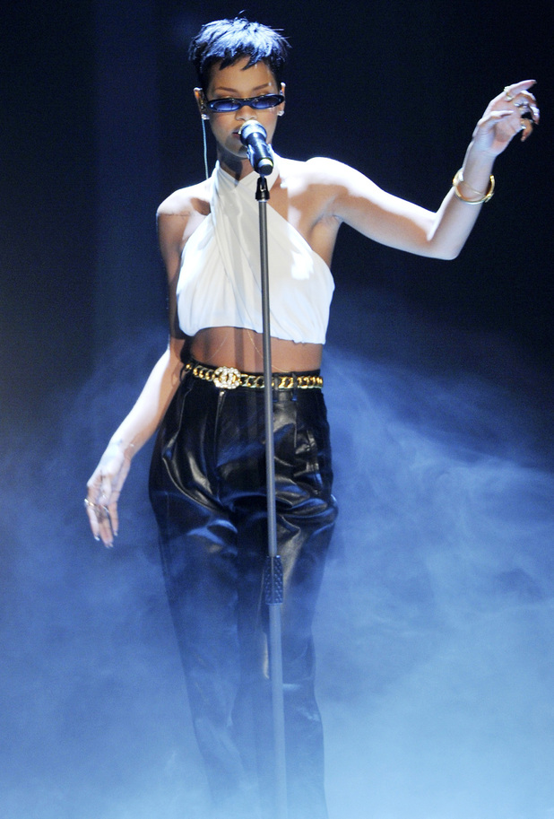 Rihanna performing on the German ZDF TV show 'Wetten, Dass...' at Rothaus ArenaFeaturing: Rihanna