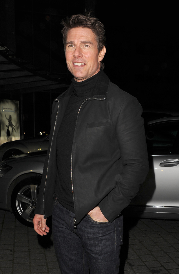 Tom Cruise arrives at Battersea Heliport,