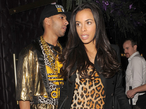 Rochelle Humes and husband Marvin Humes leaving Freedom Bar in Soho wearing fancy dress costumes. Marvin was dressed as MC Hammer, complete with gold chains and cheesy tracksuit, and Rochelle was dressed as Scary Spice Mel B, in a tiger catsuit and holding an afro style wig. Marvin was very protective of his newly pregnant wife, who was sporting a little baby bump, and ushered her into a waiting car.