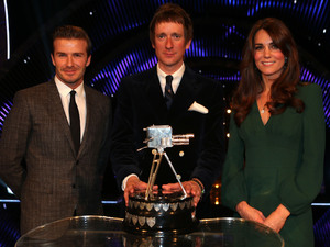 Winner of Sports Personality of the Year 2012, Bradley Wiggins with David Beckham and The Duchess of Cambridge during the Sports Personality of the Year Awards 2012, at the ExCel Arena, London