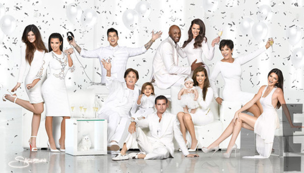 Kardashian family Christmas card starring Kendall Jenner, Kylie Jenner, Bruce Jenner, Rob Kardashian, Lamar Odom, Khloe Kardashian, Kourtney Kardashian, Kim Kardashian, Scott Disick