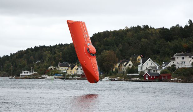 Free-fall lifeboat sets new world record after being dropped from 201ft in Norway