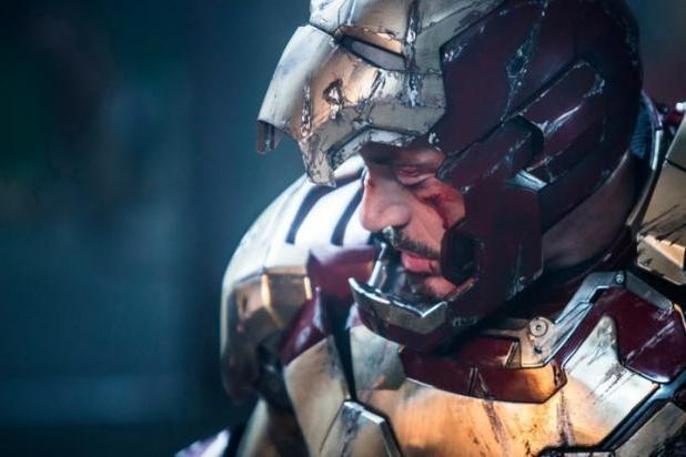 Tony Stark looking battered and bruised