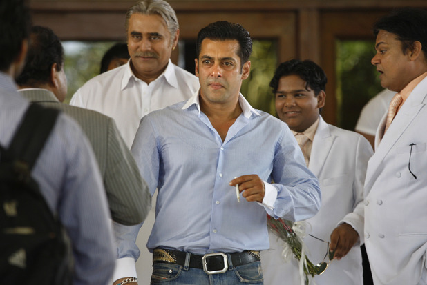 "Salman Khan, center, looks on on the sets of his latest film ""Ready"" in Colombo, Sri Lanka, Wednesday, June 30, 2010. Khan has begun shooting his latest film ""Ready"" in the Indian Ocean island of Sri Lanka."
