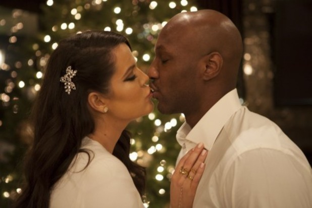 Khloe Kardashian and Lamar Odom Behind The Scenes At The Kardashian's 2012 Family Christmas Card Shoot