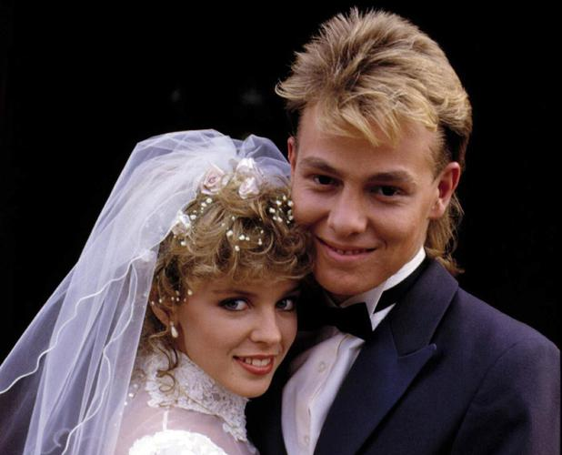 Kylie Minogue and Jason Donovan as Charlene and Scott in Neighbours.