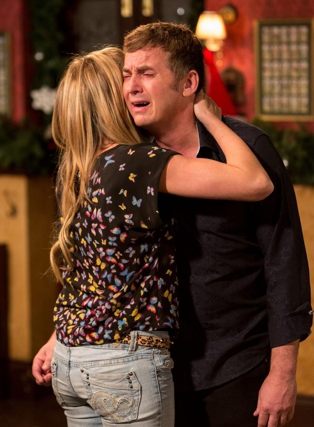Roxy Mitchell comforts Alfie Moon