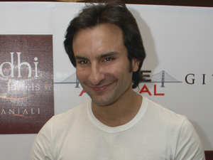 Saif Ali Khan visits a jewelry store to felicitate the winner of a contest and also promote his upcoming film Love these days, in Ahmadabad, India, Wednesday, July 22, 2009