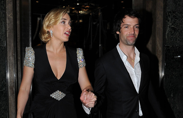 Kate Winslet with with boyfriend Ned Rocknroll, leaves Claridge's Hotel wearing a glistening Jenny Packham black gown London, England - 27.03.12 Mandatory Credit  WENN.com