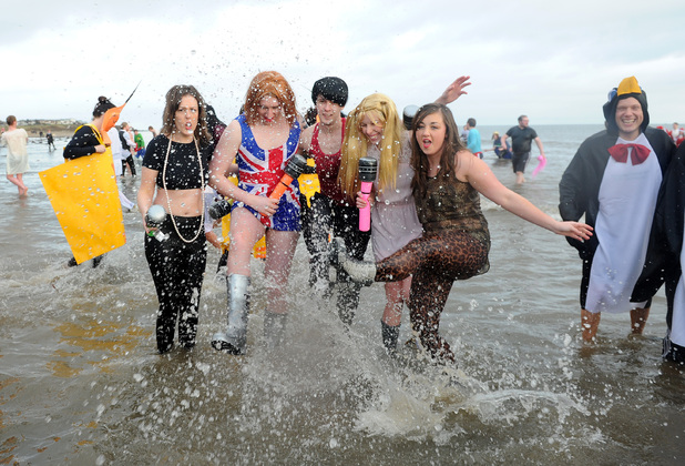 Participants at the Seaburn Boxing Day Dip, Sunderland. Picture date: Wednesday December 26, 2012.