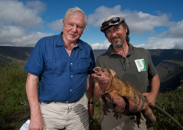 Sir David Attenborough with Dr Gabriele Gentile and Pink Iguana