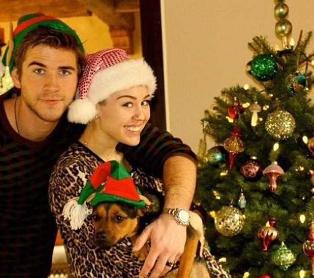 Miley Cyrus and Liam Hemsworth Christmas Day picture