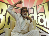 "Bollywood actor Amitabh Bachchan gestures at a press conference to promote his new movie "" Bbuddah Hoga Terra Baap"" in Ahmadabad, India, Thursday, July 7, 2011."