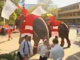 Elephants dress as Father Christmas to give children gifts