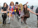 Thousands revel in the North Sea for Boxing Day charity swim.