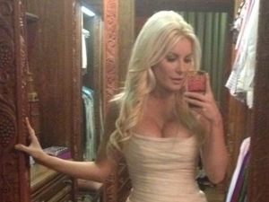 Crystal Harris in her wedding gown after marrying Hugh Hefner