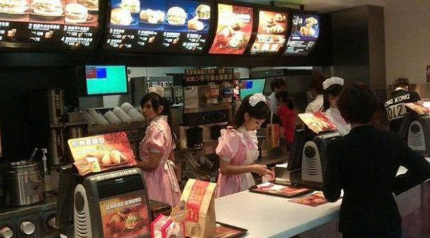 McDonald's employees dress as maids in Taiwan