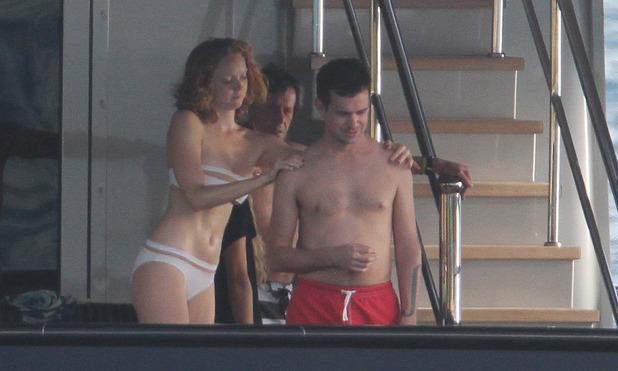 Lily Cole on Vacation in Saint Barthelemy spotted with Twitter founder Jack Dorsey