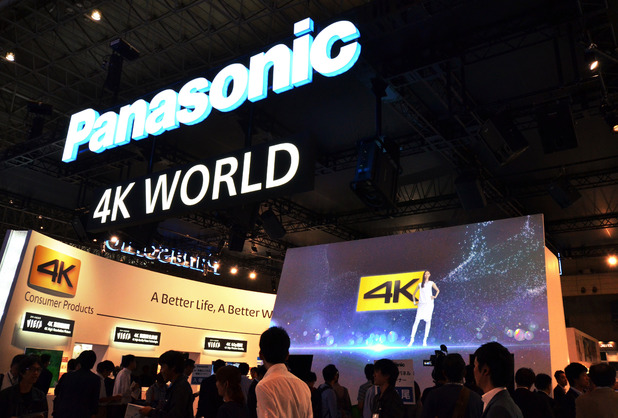 Panasonic displays the company's LCD and OLED 4K television sets 'Viera' at the Ceatec electronics trade show in Chiba, Tokyo