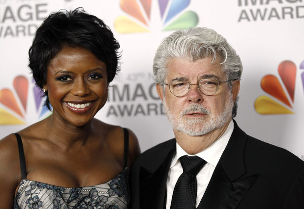 George Lucas with fiancee Mellody Hobson, NAACP Image Awards 2012