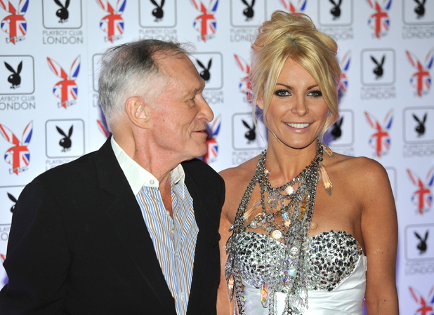 Hugh Hefner with fiancee Crystal Harris (Centre R)