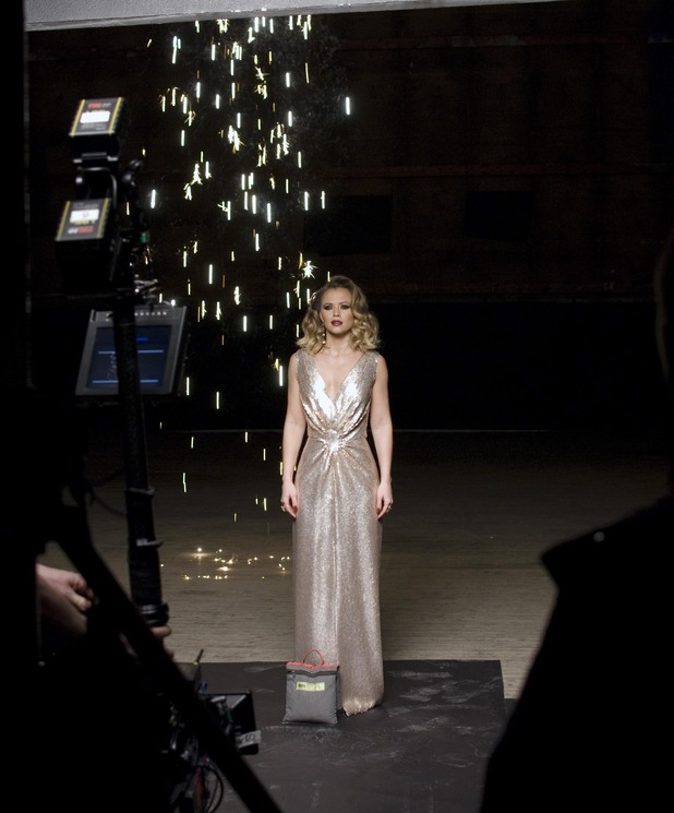 Kimberley Walsh on the set of her first solo music video for the track 'One Day I'll Fly Away'