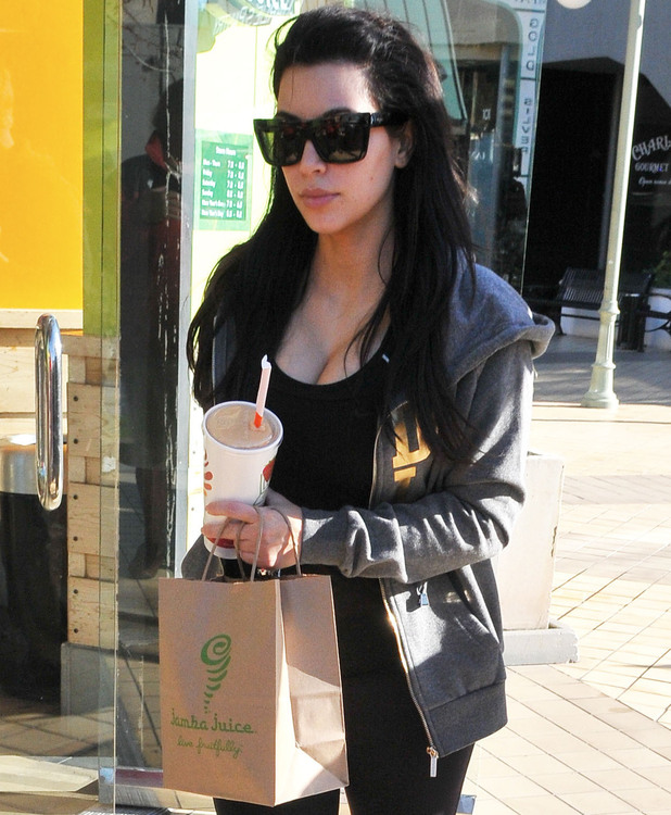 Kim Kardashian stops off at Jamba Juice to grab a snack and a drink after working out at the gym Featuring: Kim Kardashian Where: Los Angeles, California, United States When: 03 Jan 2013 Credit: JP/JFXimages/WENN.com