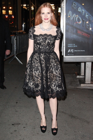 2012 New York Film Critics Circle Awards at Crimson - Outside Arrivals Featuring: Jessica Chastain Where: New York City, NY, United States When: 07 Jan 2013