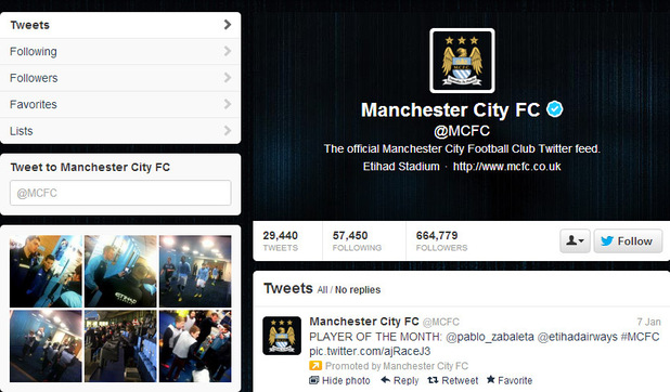 Manchester City FC Twitter screenshot