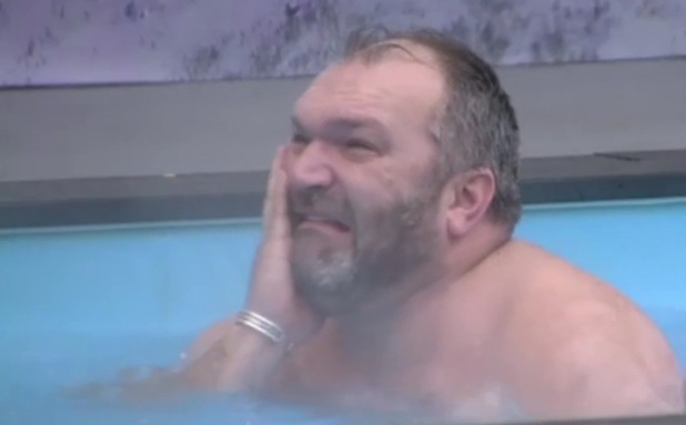 Neil Ruddock reacts to Rylan Clark stripping naked in the Celebrity Big Brother house.