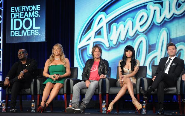 2013 FOX Winter TCA Press Tour Panels, Pasadena, California - 08 Jan 2013 Judges Randy Jackson, Mariah Carey, Keith Urban and Nicki Minaj and host Ryan Seacrest participate in the 'American Idol' panel 8 Jan 2013