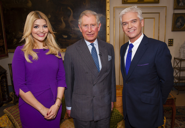 HRH Prince Charles with Phillip Schofield and Holly Willoughby for This Morning's 'You Can Be Heroes' week - January 2013