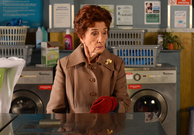 Dot tries to get the laundrette in shape again.