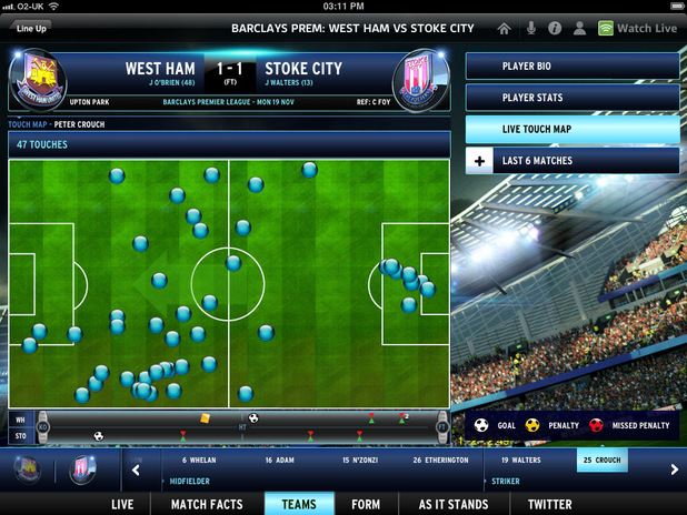 Sky Sports iPad app football analysis tools