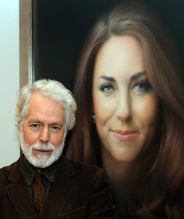 Paul Emsley by his new portrait of the Duchess of Cambridge after its unveiling at the National Portrait Gallery in central London