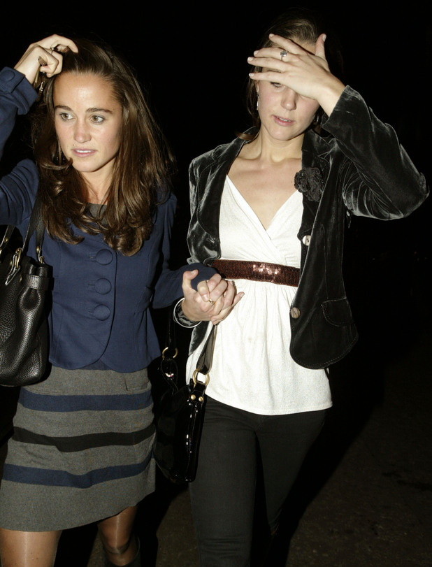 Kate (right) and Pippa Middleton spotted leaving Kings Road club Raffles, in west London.