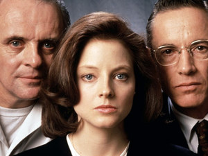 Jodie Foster alongside Anthony Hopkins and Scott Glenn in Silence of the Lambs (1991)