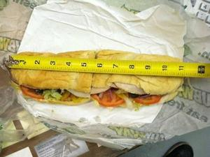 Footlong subway sandwich is an inch too short leading to a complaint