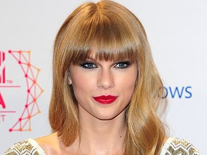 Taylor Swift with awards for Best Female, Best Live and Best Look in the press room at the 2012 MTV Europe Music Awards