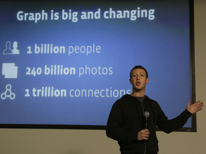 Facebook CEO Mark Zuckerberg speaks about Facebook Graph Search at a Facebook headquarters in Menlo Park, Calif., Tuesday, Jan. 15, 2013. 