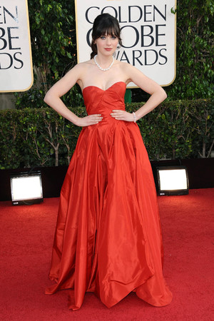Zooey Deschanel arriving at the 70th Annual Golden Globe Awards 2013 in Los Angeles