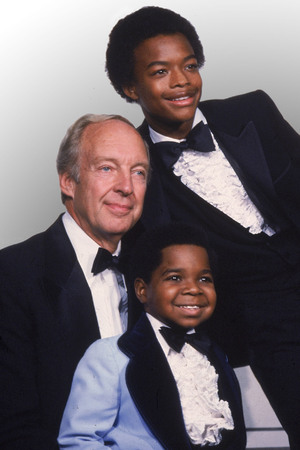 "Co-stars of the television show ""Different Strokes,"" from foreground, Gary Coleman, Conrad Bain and Todd Bridges, pose at the Emmy Awards in Los Angeles, Ca., Sept. 13, 1981."