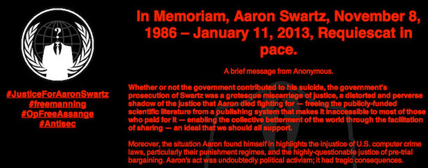 Anonymous hacks MIT website after Reddit co-founder Aaron Swartz suicide